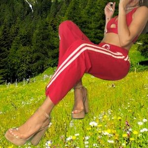 Dolls-kill Delia's Smarty Pants  track Pants Red
